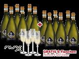 Vorteilspaket 12 für 6 Prosecco Frizzante Selezione del Re inkl. 4 Sektgläser bei ebrosia