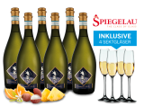 Probierpaket 6 Flaschen Prosecco Frizzante Selezione del Re inkl. 4 Sektgläser11,11€ pro l