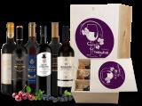 Festtags-Kiste mit edlen Rotweinen in hochwertiger Holzkiste bei ebrosia