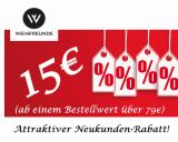 Weinfreunde Gutschein Neukunden-Rabatt! 15€ ab 79€ MBW – bis zum 20.01.2019