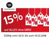Weinfreunde Gutschein 15 % auf ALLES – kein MBW! bis zum 01.12.2018