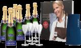 Champagne Pommery Paket Genuss mit C. Poletto / Champagner / Champagne 6 Flaschen, 6 Pommery Gläser, Kochbuch u. Schürze