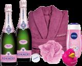 Champagne Pommery Paket Rosé / Champagner / Champagne 2 Flaschen, Bademantel, Pflegedusche, Duschschwamm