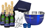 Champagne Pommery Paket Sommernacht Groß / Champagner / Champagne 6 Fl., 6 Gläser, Champagnerkühler,