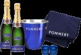 Champagne Pommery Paket Sommernacht Klein / Champagner / Champagne 2 Fl., Champagnerkühler, Decke u. 2 Windlichter